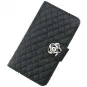 Fashionable Black Rhombus Flower Flip Handmade Leather Pu Case Cover for Samsung Galaxy Note 2 N7100