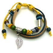 Leaf Design Leather Bracelet with Colourful Beads