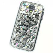 Handmade Silver Skull Crystal diamond Bling Case Cover for for Samsung Galaxy S4 Match flower Hanger