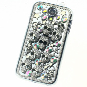 Handmade Silver Skull Crystal diamond Bling Case Cover for Samsung Galaxy S4 Match flower Hanger