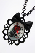 Gothic Skeleton Necklace with Black Satin Ribbon