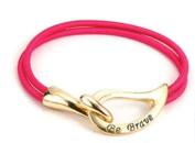 Alexa's Angels Be Brave Cancer Support Bracelets Gold-toned Pink Band