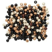 500pc Eco-friendly Wood Beads, 7-8mm, Mixed Colours