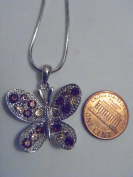 Silver and Brown. Crystal Butterfly Necklace