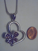 Silver and Brown. Crystal Heart with Butterfly Necklace