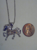 Silver and Brown. Crystal Horse Necklace