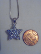 Silver and Blue. Crystal Star Necklace