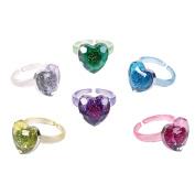 Glitter Heart Rings (36 pc)