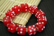 Casino Theme Red Dice Design Handmade Lampwork Glass Stretch Bracelet