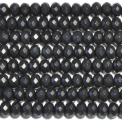 Matte Onyx 8mm Faceted Rondelle Beads 8 Inch Strand