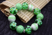 Spring Fiori Design Green Handmade Lampwork Glass Stretch Bracelet
