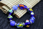 Blue Ocean Design Handmade Lampwork Glass Stretch Bracelet