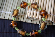 Animal Print Design Handmade Lampwork Faceted Glass Stretch Bracelet Style 4