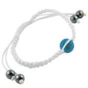 Navy Blue Crystal Pave Bead White Macrame Shamballa Bracelet