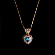 New Design 18K Rose Gold Plated Alloy Blue Big Austrian Crystal Heart Pendant Necklace Women Jewellery