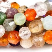 "Multi Gemstone Beads Faceted 5-6mm Round, 14"" length, 69 pieces"