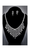 Crystal Rhinestone Necklace Chain and Earring Set, Crystal/Silver NEC-2019