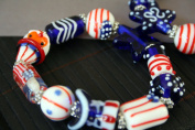 July 4th Patriotic Design Lampwork Glass Stretch Bracelet