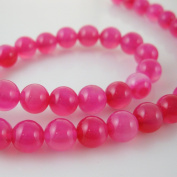 Pink Agate Beads - Smooth Round 8mm