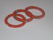 Christmas stocking stuffer or Birthday Gift Set of 3 Matching Orange Handmade Beaded Bangle for Teens & Adults