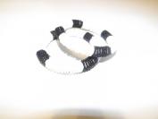 Holiday Christmas Gift or Stocking Stuffer for Boy & Girl -Black & White Beaded Bracelet Bangle