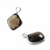 Smoky Quartz Faceted Square and Silver Pendant