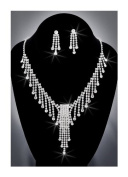 Crystal Rhinestone Necklace Chain and Earring Set, Crystal/Silver NEC-2018