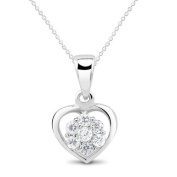 New 925 Sterling Silver Flower Inside Heart Cz Pendant with 46cm Chain