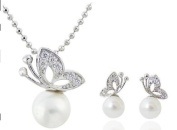 Sliver Plated Crystal Lovely Pearl with Butterfly Pendant Necklace and Earrings Set / Chain--(With Cutely Gift Box)-----. From USA--takes 2-6 working days with shelley.kz INC-------