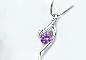 Sliver Plated-925 Sterling Silver Lovely Bling Fashion Purple Cubic Zirconia Musical note Pendant Necklace / Chain--(With Cutely Gift Box)-----. From USA--takes 2-6 working days with shelley.kz INC--------(1 pcs only)------