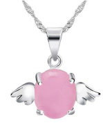 Sliver Plated-925 Sterling Silver Fashion Lovely Bling pink Cubic Zirconia Opal Little Angel Pendant Necklace / Chain--(With Cutely Gift Box)-----. From USA--takes 2-6 working days with shelley.kz INC--------(1 pcs only)------