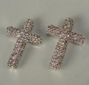Rhinestone Tube Cross Pave Silver W/crystal 2 Each 3.8cm