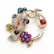 Rainbow Flower Pin Brooch Ornament-Gorgeous Design Gold Metallic w/Rainbow Rhinestone,Elegant Design 5.1cm W x 5.1cm H Super Saving w/ .  d !