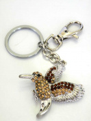 Elegant Humingbird Key Chain Key Holder/Handbag Charm-Beautiful Humingbird Design w/Gorgeous Rhinestones,The Highest Quality key Rings,Super Saving ,Free Jewellery Box,5.1cm w x 16cm h, .  d