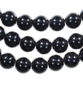 Black Onyx 8mm Round Smooth Bead Strands 15.75""
