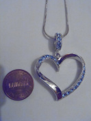 Silver and Blue. Crystal Heart Necklace