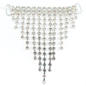 Mode Beads Hanging Single Triangle Rhinestone Connector, 7cm , Crystal/Silver