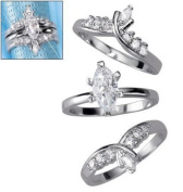 Silver Plated Faux Diamond Marquise Ring Set - 3-piece with Jacket - Size 8
