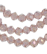 Peach Crystal Glass Fancy Cut Beads Strand 8mm 15.5""