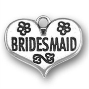 Sterling Silver Bridesmaid in Heart Charm with Split Ring