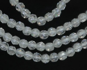 """Rock Crystal 4mm Genuine Quartz Strand Round Faceted A+ Beads 15"""""""