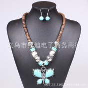 2014 Fashion Butterfly Turquoise Jewellery Set Vintage Coir Necklace Earring Set