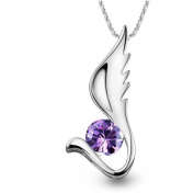 Sliver Plated-925 Sterling Silver Lovely Bling Fashion Purple Cubic Zirconia Angel Wing Pendant Necklace / Chain--(With Cutely Gift Box)-----. From USA--takes 2-6 working days with shelley.kz INC--------(1 pcs only)------