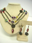 LeRoux 7839 Lamp Work Style Glass Bead Necklace & Earrings