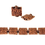 12mm Antiqued Copper Hugs Embossed Square Beads, 8 inch, 15 beads