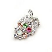 Designer Ladies Fashion Pin Brooch Ornament-Gorgeous Rainbow Clear Rhinestones Design Silver Ring,Super Saving,Special Discount,100% Satisfaction Guaranteed ! 2cm x 3cm.