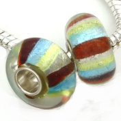 Add A Link Of Charm Silver Foil Red Yellow Blue Handmade Murano Bead