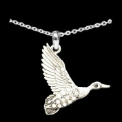 From the Heart Crystal Rhinestone Flying Duck Charm on 46cm Necklace-Beautiful!!! Great to Celebrate this Elegant Bird & Also the University of Oregon Ducks!!!Fun Sweet Gift for the Woman you Love,Your Friend, or Relative !!!Will Mail in Gift Box.