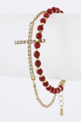 FB-5620 Trendy Gold Cross Charm Red Beads Fashion Bracelet for Women