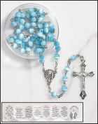 Mother's Rosary Glass Cat's Eye in Case with Mothers Holy Card and Mysteries Booklet
